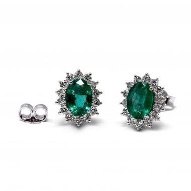 Earrings with emeralds and white diamonds