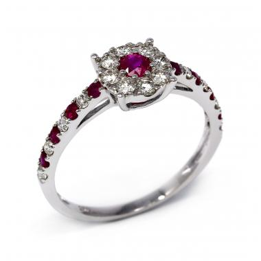 Ring with alternating rubies and white diamonds